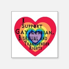 "ISupportGayRights Square Sticker 3"" x 3"""