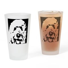 labradoodle_bw Drinking Glass