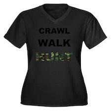 crawl walk h Women's Plus Size Dark V-Neck T-Shirt