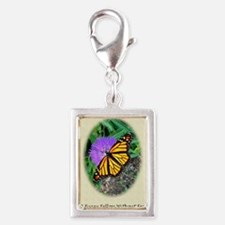 Butterfly Classical Old Poet Silver Portrait Charm