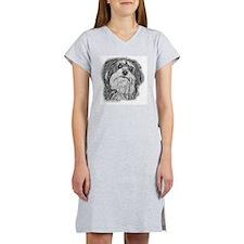 havenese black and white Women's Nightshirt