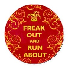 Freak Out Clock 2 Round Car Magnet