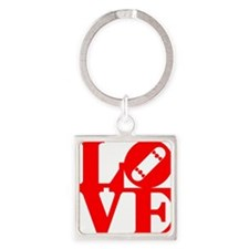 love_1_rojo Square Keychain