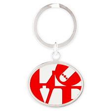 love_1_rojo Oval Keychain