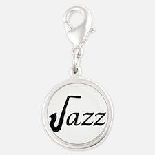 Jazz Saxophone Silver Round Charm