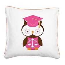 Graduate Law Student Owl Square Canvas Pillow