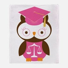 Graduate Law Student Owl Throw Blanket
