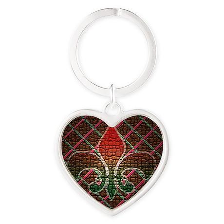 Xmas Fleur Mosaic Heart Keychain