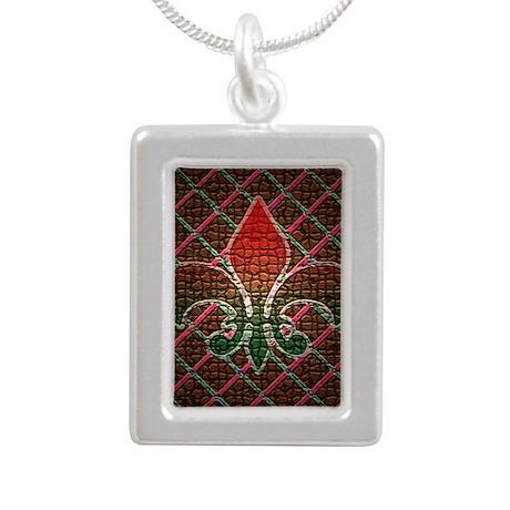 Xmas Fleur Mosaic Silver Portrait Necklace