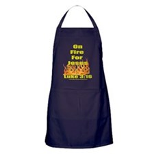 on fire for jesus for dark colored te Apron (dark)
