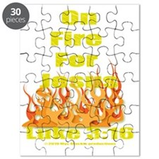 on fire for jesus for dark colored tee shir Puzzle
