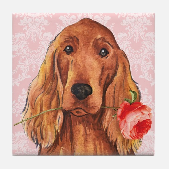 Irish Setter Rose Tile Coaster