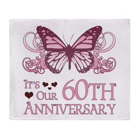 60th Wedding Aniversary (Butterfly) Throw Blanket