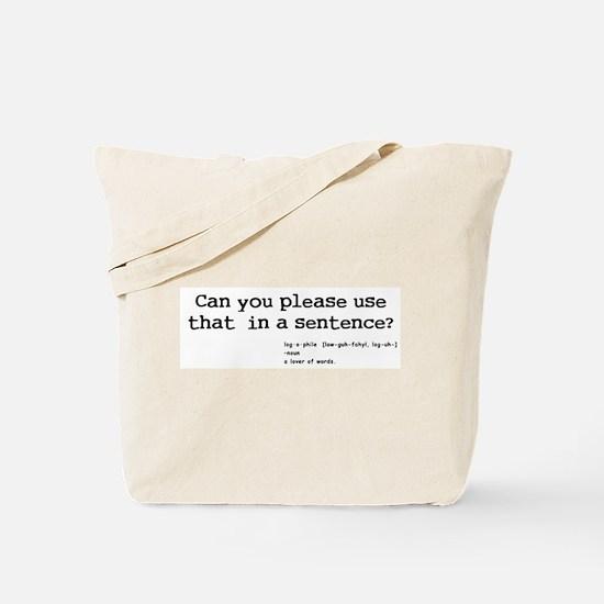 logophile Tote Bag