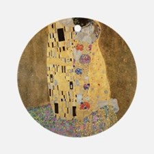 The Kiss by Gustav Klimt Round Ornament