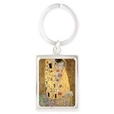 The Kiss by Gustav Klimt Portrait Keychain