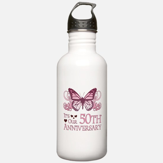 50th Wedding Aniversary (Butterfly) Water Bottle