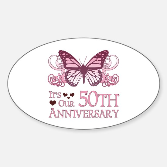 50th Wedding Aniversary (Butterfly) Sticker (Oval)