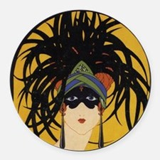 Art Deco Lady Round Car Magnet