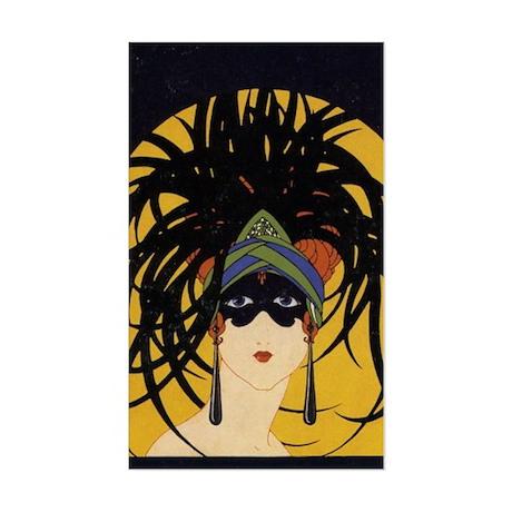 Art Deco Lady Sticker (Rectangle)