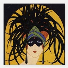 "Art Deco Lady Square Car Magnet 3"" x 3"""