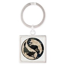 yin_yang_wolves Square Keychain