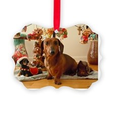 ChristmasDoxie1Card Ornament