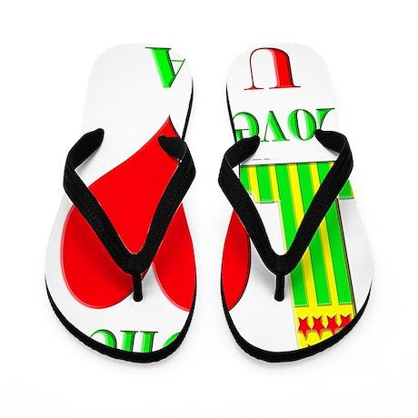 1 love 1 heart USA 10x10 apparel copy Flip Flops