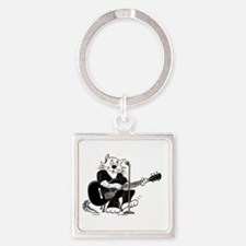 Guitar Cat in Black Best Square Keychain