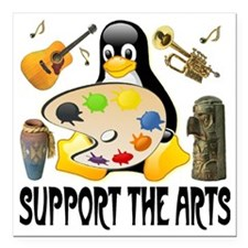 "penguin_support_the_arts Square Car Magnet 3"" x 3"""
