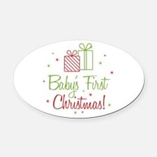Baby's First Christmas Oval Car Magnet