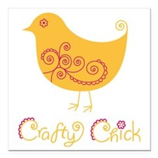 "craftychickorgpink Square Car Magnet 3"" x 3"""