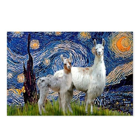 Starry Night Llama Duo Postcards (Package of 8)