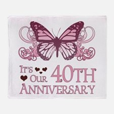 40th Wedding Aniversary (Butterfly) Throw Blanket