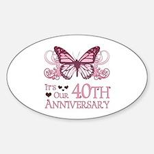 40th Wedding Aniversary (Butterfly) Sticker (Oval)