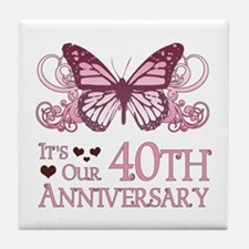 40th Wedding Aniversary (Butterfly) Tile Coaster