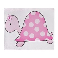 Girly Pink Turtle Throw Blanket