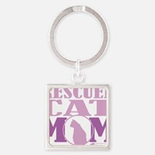 Rescued-Cat-Mom Square Keychain