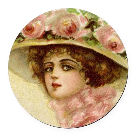 lady 1_pillow Round Car Magnet