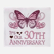 30th Wedding Aniversary (Butterfly) Throw Blanket
