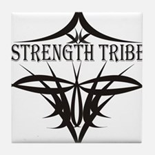 StrengthTribeLogo1black Tile Coaster