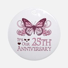25th Wedding Aniversary (Butterfly) Ornament (Roun