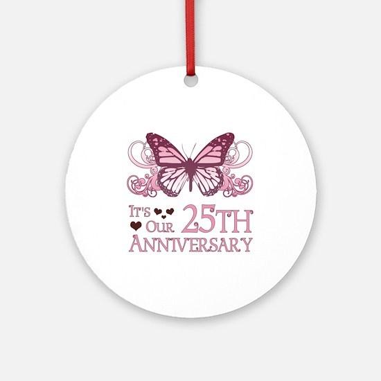 25th Wedding Aniversary (Butterfly) Ornament (Roun