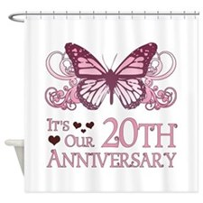 20th Wedding Aniversary (Butterfly) Shower Curtain