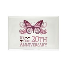 20th Wedding Aniversary (Butterfly) Rectangle Magn