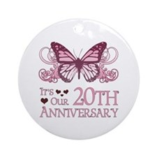 20th Wedding Aniversary (Butterfly) Ornament (Roun
