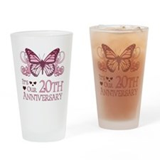 20th Wedding Aniversary (Butterfly) Drinking Glass