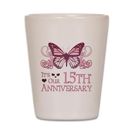 15th Wedding Aniversary (Butterfly) Shot Glass