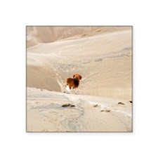 "Dune Beagle card Square Sticker 3"" x 3"""