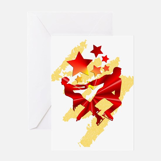 Pair Skaters Red Greeting Cards